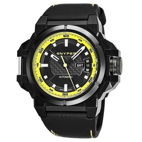 Snyper Men's 20.260.00 'Two' Black Carbon Fiber Black Leather Strap Swiss Automatic Watch