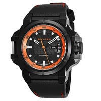 Snyper Men's 20.270.00 'Two' Black/Orange Carbon Fiber Dial Black Leather Strap Swiss Automatic Watch