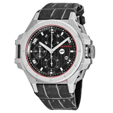 Snyper Men's 50.020.00 'Iron Clad' Black Dial Grey Leather Strap Chronograph Swiss Automatic Watch