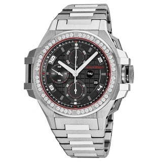 Snyper Men's 'Iron Clad' Grey Dial Stainless Steel Chronograph Diamond Swiss Automatic Watch