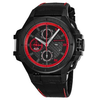 Snyper Men's 50.250.00 'Iron Clad 513' Black Dial Black Leather Strap Chronograph Swiss Automatic Watch