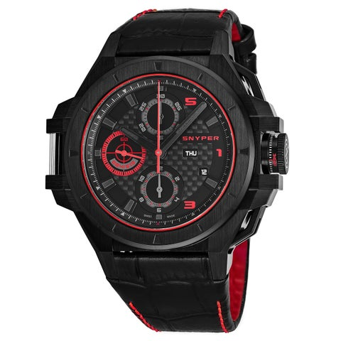 Snyper Men's 'Iron Clad 513' Black Dial Black Leather Strap Chronograph Swiss Automatic Watch