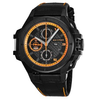 Snyper Men's 50.270.00SP 'Iron Clad 513' Black Dial Black Leather Strap Chronograph Swiss Automatic Watch