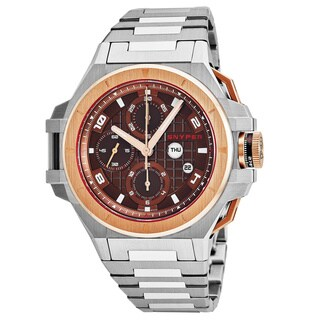 Snyper Men's 'Iron Clad' Brown Dial Stainless Steel/Rose Gold Chronograph Swiss Automatic Watch