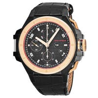 Snyper Men's 50.450.00 'Iron Clad' Black Dial Black Leather Strap Chronograph Rose Gold Swiss Automatic Watch