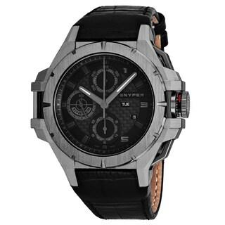 Snyper Men's 'Iron Clad' Black Dial Black Leather Strap Chronograph Titanium Swiss Automatic Watch