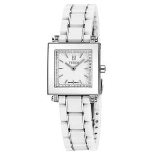 Fendi Women's 'Ceramic Square' White Diamond Dial White Ceramic/Stainless Steel Swiss Quartz Watch