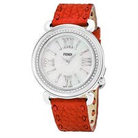 Fendi Women's  'Selleria' Mother of Pearl Dial Red Leather Strap Diamond Swiss Quartz Watch