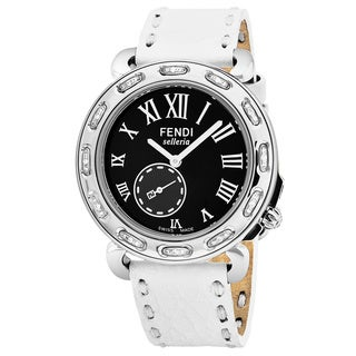 Fendi Women's F81031DCH.SNR04 'Selleria' Black Dial White Leather Strap Diamond Swiss Quartz Watch