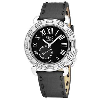 Fendi Women's F81031DCH.SNR06 'Selleria' Black Dial Grey Leather Strap Diamond Swiss Quartz Watch