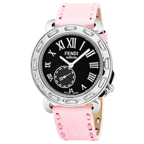 Fendi Women's F81031DCH.SNR07 'Selleria' Black Dial Pink Leather Strap Swiss Quartz Watch