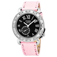 Fendi Women's F81031DCH.SNR07 'Selleria' Black Dial Pink Leather Strap Swiss Quartz Watch