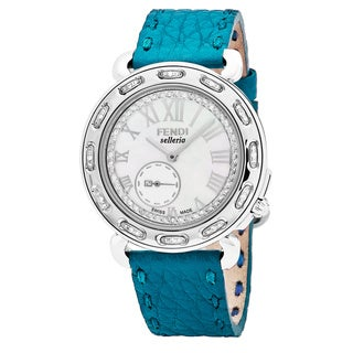 Fendi Women's F81034DDCH.SNB3 'Selleria' Mother of Pearl Diamond Dial Turquoise Leather Strap Swiss Quartz Watch