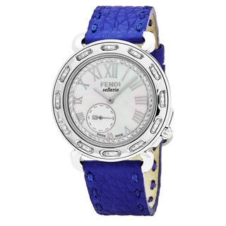 Fendi Women's F81034DDCH.SNC3 'Selleria' Mother of Pearl Diamond Dial Blue Leather Strap Swiss Quartz Watch
