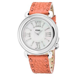 Fendi Women's F8010345H0.SND7 'Selleria' Mother of Pearl Dial Coral Leather Strap Swiss Quartz Watch