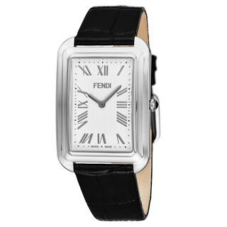 Fendi Men's F702014011 'Classico' White Dial Black Leather Strap Swiss Quartz Watch