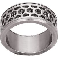 Silver and Black Stainless Steel Ring Size 10