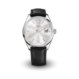 Milus Men's 'Snow Star Heritage' Silver Dial Black Leather Strap Swiss Mechanical Limited Edition Watch