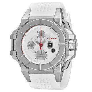 Snyper Men's 'One' White Dial White Rubber Strap Chronograph Swiss Automatic Watch