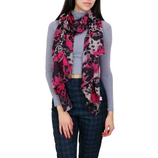 LA77 Hot Pink Leopard Print Fashion Scarf