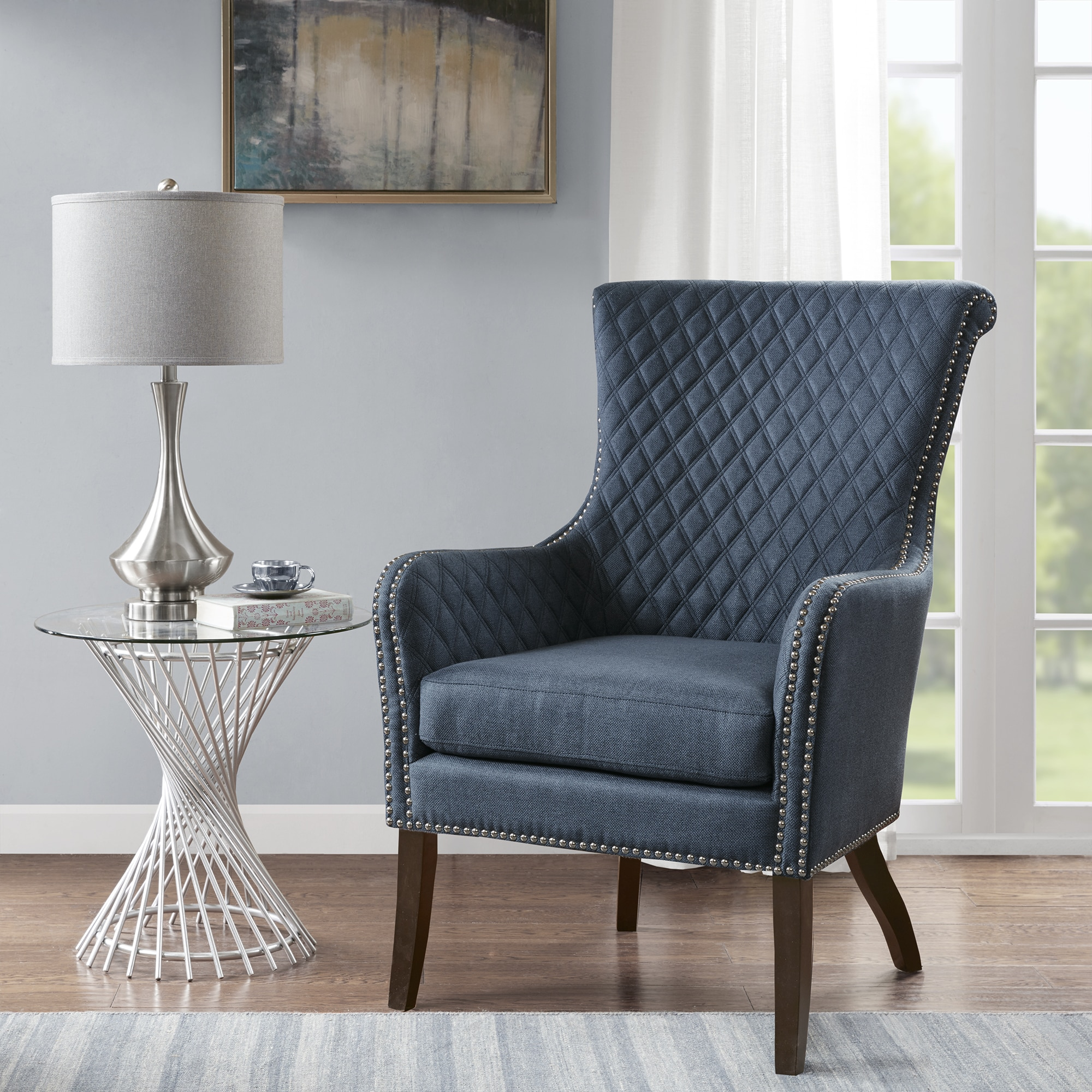 Picture of: Madison Park Lea Dark Blue Accent Chair On Sale Overstock 20219255