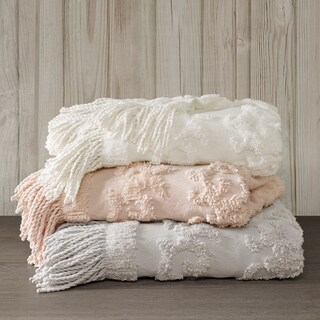 Madison Park Mila All Season Cotton Tufted Throw