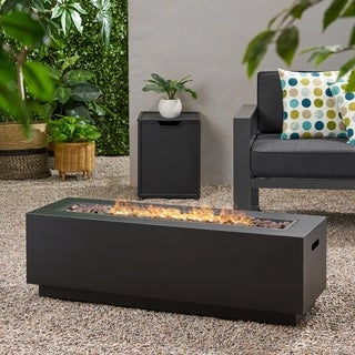 Wellington Outdoor Rectangular Firepit with Lava Rocks by Christopher Knight Home
