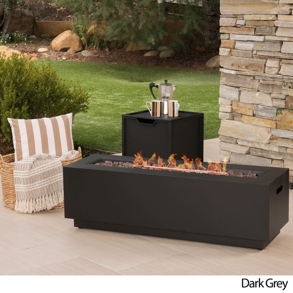 Shop Wellington Outdoor Rectangular Firepit With Lava Rocks By