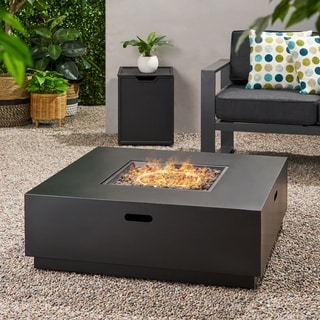 Wellington Outdoor 40-inch Square Firepit with Lava Rocks by Christopher Knight Home