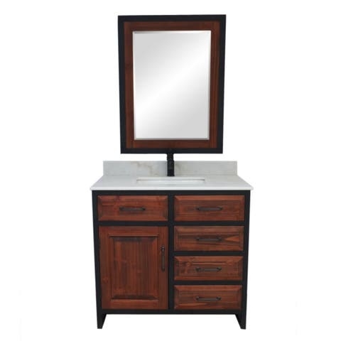 """36""""Rustic Solid Fir Single Sink Iron Frame Vanity in Brown-Driftwood Finish with Marble Top-No Faucet"""