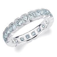 Amore Platinum 2CT TDW Box Set Milgrain Edge Diamond Eternity Ring