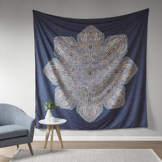Intelligent Design Genny Navy Printed Oversized Wall Tapestry