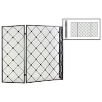 "UTC12478: Metal Hinged Fireplace Screen with ""Diamond Mesh"" Design Metallic Finish Gunmetal Gray"