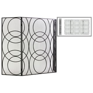 "UTC12480: Metal Hinged Fireplace Screen with ""Circle in Circle"" Design Metallic Finish Gunmetal Gray"