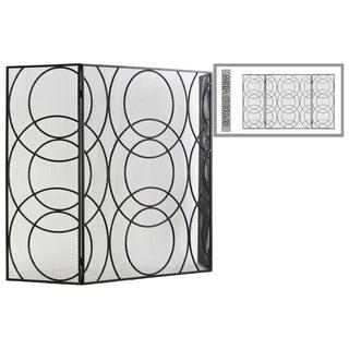 "UTC12480: Metal Hinged Fireplace Screen with ""Circle in Circle"" Design Metallic Finish Gunmetal Gray"