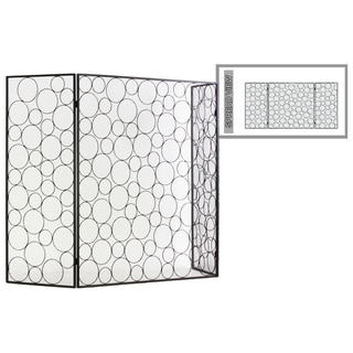 "UTC12479: Metal Hinged Fireplace Screen with ""Random Circle"" Design Metallic Finish Gunmetal Gray"