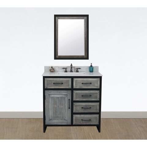 """36""""Rustic Solid Fir Single Sink Iron Frame Vanity in Grey-Driftwood Finish with Marble Top-No Faucet"""