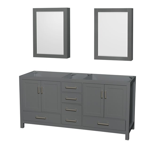 Shop Sheffield 72 Inch Dark Gray Double Vanity Cabinet Medicine