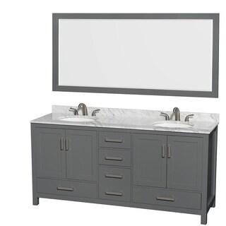 Sheffield 72-inch Dark Gray Double Vanity, Oval Sinks, 70-inch Mirror