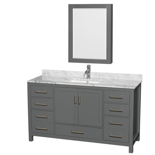 Shop sheffield 60 inch dark gray single vanity square - 60 inch bathroom cabinet single sink ...
