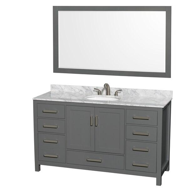 58 Bathroom Vanity Single Sink: Shop Sheffield 60-inch Dark Gray Single Vanity, Oval Sink