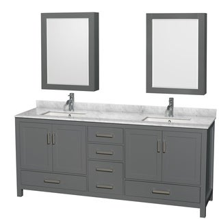 Sheffield 80-inch Dark Gray Double Vanity, Square Sinks, Med Cabinets (2 options available)