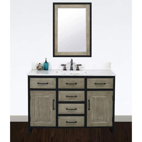 "48""Rustic Solid Fir Single Sink Iron Frame Vanity in Driftwood Finish with Marble Top-No Faucet"