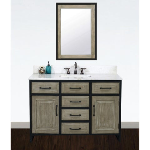 """48""""Rustic Solid Fir Single Sink Iron Frame Vanity in Driftwood Finish with Marble Top-No Faucet"""