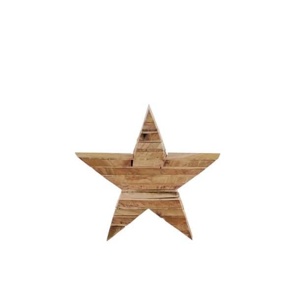 Utc56111 Wood Star Figurine Wall Decor Sm Natural Finish Tan