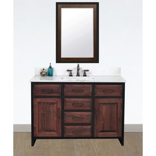 """48""""Rustic Solid Fir Single Sink Iron Frame Vanity in Brown-Driftwood Finish with Marble Top-No Faucet"""