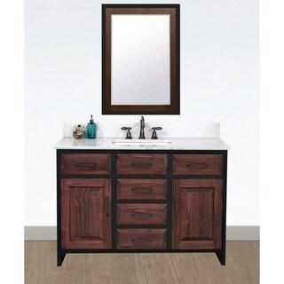 "48""Rustic Solid Fir Single Sink Iron Frame Vanity in Brown-Driftwood Finish with Marble Top-No Faucet"