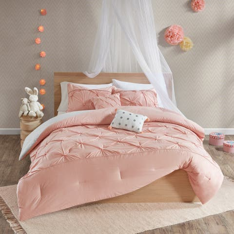 Urban Habitat Kids Eleanor Blush Cotton Printed 5-piece Reversible Comforter Set