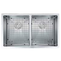 Ancona Prestige Series Undermount Stainless Steel 32 in. Double Bowl Kitchen Sink in Satin Finish with Grids & Strainers