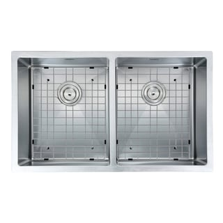Ancona Prestige Series Undermount Stainless Steel 28 in. Double Bowl Kitchen Sink in Satin-Finish with Grids & Strainers